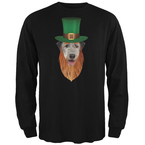 St. Patricks Day - Irish Wolfhound Leprechaun Black Adult Long Sleeve T-Shirt