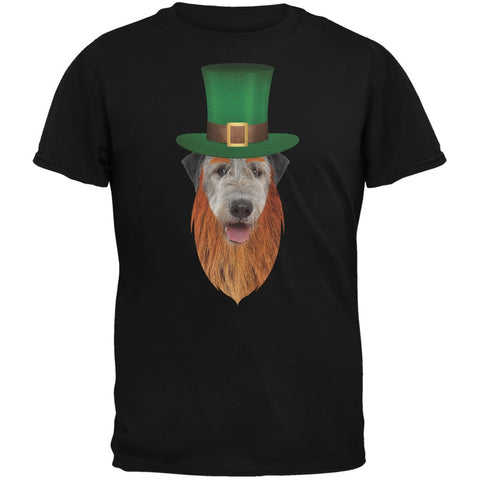 St. Patricks Day - Irish Wolfhound Leprechaun Black Adult T-Shirt