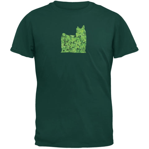 St. Patricks Day - Yorkshire Terriers Shamrock Forest Green Adult T-Shirt