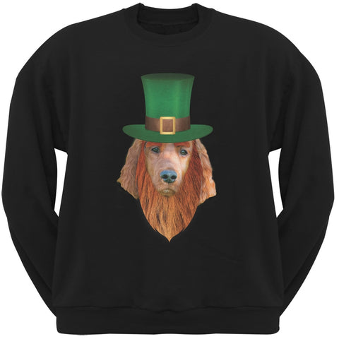 St. Patricks Day - Irish Setter Leprechaun Black Adult Sweatshirt