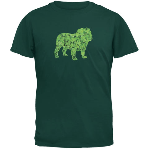 St. Patricks Day - Bulldog Shamrock Forest Adult T-Shirt
