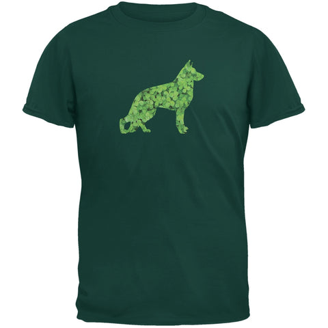 St. Patricks Day - German Shepherds Shamrock Forest Adult T-Shirt