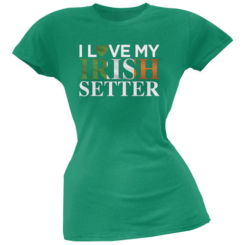 St. Patricks Day - I Love My Irish Setter Black Soft Juniors T-Shirt