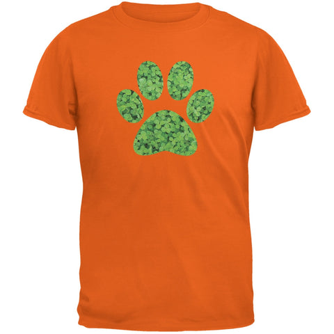 St. Patricks Day - Dog Paw Orange Adult T-Shirt