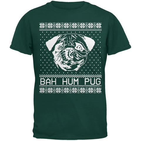 Bah Hum Pug Ugly Christmas Sweater Dark Green Youth T-Shirt