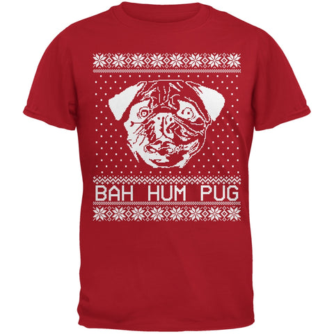 Bah Hum Pug Ugly Christmas Sweater Red Youth T-Shirt