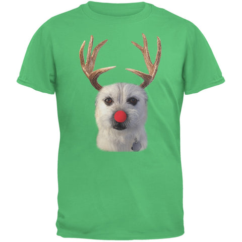 Funny Reindeer Dog Ugly Christmas Sweater Green Adult T-Shirt