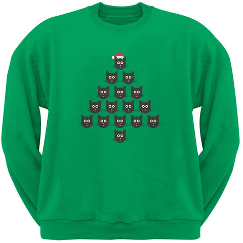 Cat Christmas Green Tree Adult Sweatshirt