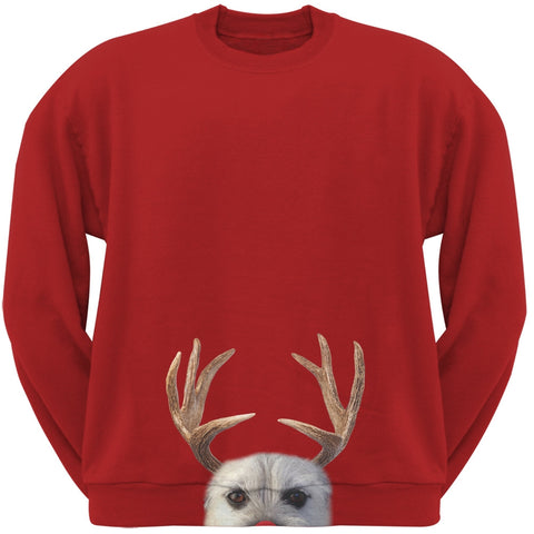 Peeking Funny Reindeer Dog Red Sweatshirt