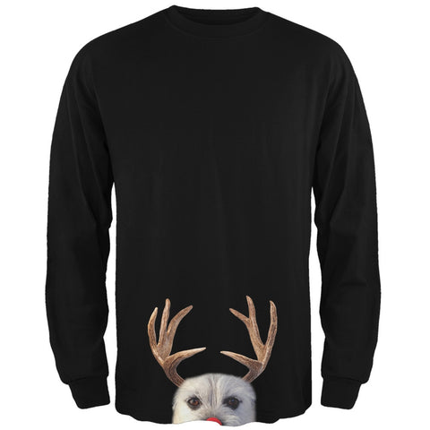 Peeking Funny Reindeer Dog Black Long Sleeve T-Shirt