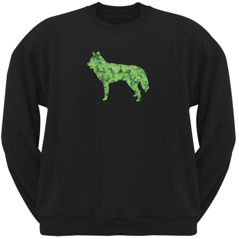 St. Patricks Day - Siberian Husky Shamrock Black Adult Sweatshirt