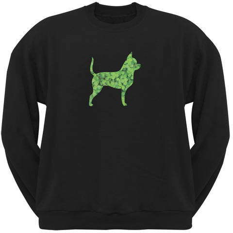 St. Patricks Day - Chihuahuas Shamrock Black Adult Sweatshirt