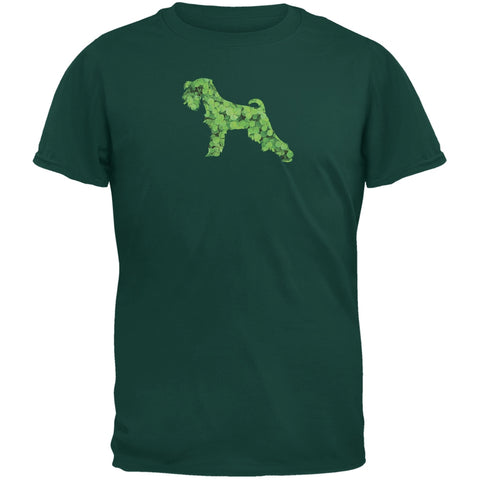 St. Patricks Day - Miniature Schnauzer Shamrock Forest Green Adult T-Shirt