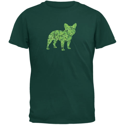 St. Patricks Day - French Bulldog Shamrock Forest Green Adult T-Shirt
