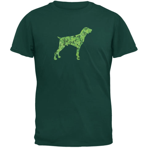 St. Patricks Day - German Shorthaired Shamrock Forest Green Adult T-Shirt