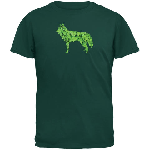 St. Patricks Day - Siberian Husky Shamrock Forest Green Adult T-Shirt