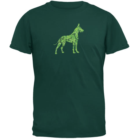 St. Patricks Day - Great Dane Shamrock Forest Green Adult T-Shirt