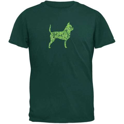 St. Patricks Day - Chihuahuas Shamrock Forest Green Adult T-Shirt