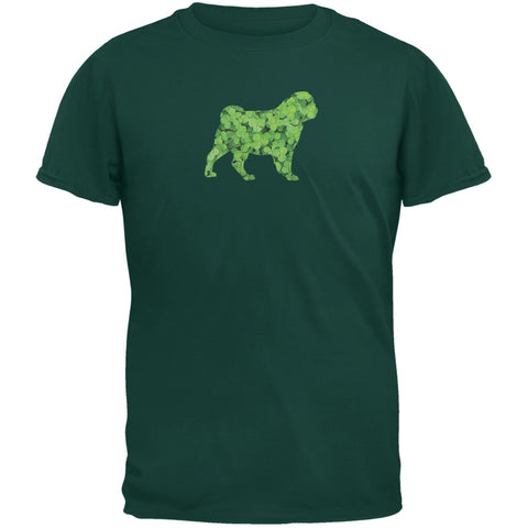 St. Patricks Day - Pug Shamrock Forest Green Adult T-Shirt