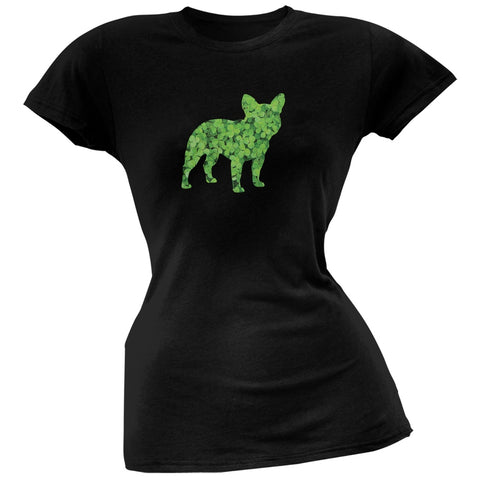 St. Patricks Day - French Bulldog Shamrock Black Soft Juniors T-Shirt