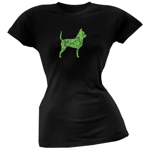 St. Patricks Day - Chihuahuas Shamrock Black Soft Juniors T-Shirt