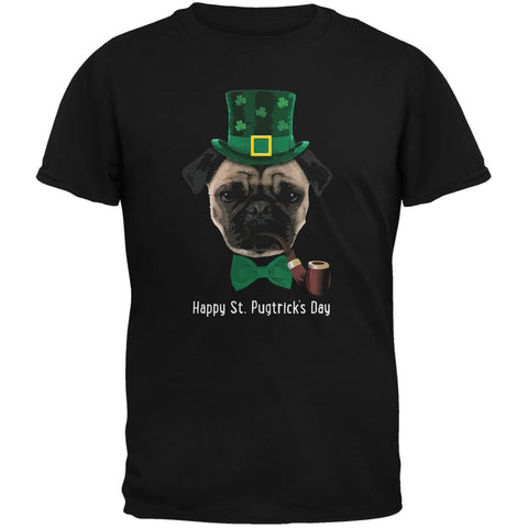 St. Patrick's -  Pugtrick's Day Funny Pug Black Adult T-Shirt