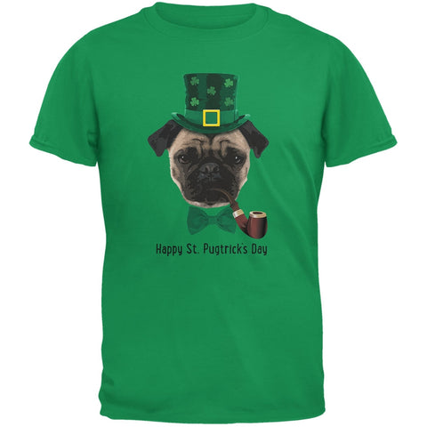 St. Patrick's -  Pugtrick's Day Funny Pug Irish Green Adult T-Shirt