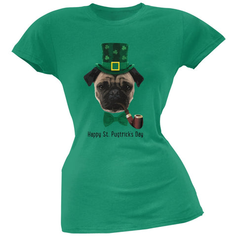 St. Patrick's -  Pugtrick's Day Funny Pug Black Juniors Soft T-Shirt