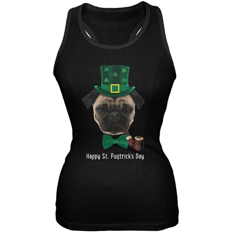 St. Patrick's - Pugtrick's Day Funny Pug Black Juniors Soft Tank Top