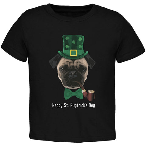 St. Patrick's - Pugtrick's Day Funny Pug Black Toddler T-Shirt