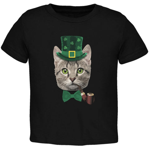 St. Patrick's Funny Cat Black Toddler T-Shirt