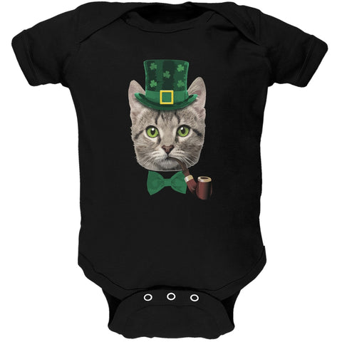 St. Patrick's Funny Cat Black Soft Baby One Piece