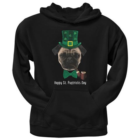 St. Patrick's -  Pugtrick's Day Funny Pug Black Adult Hoodie