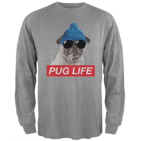 Pug Life Adult Heather Grey Long Sleeve T-Shirt
