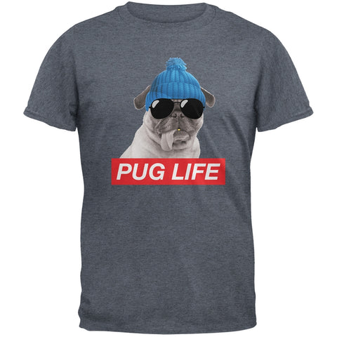 Pug Life Dark Heather Grey Adult T-Shirt