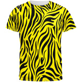 Zebra Print Yellow Sublimated Adult T-Shirt