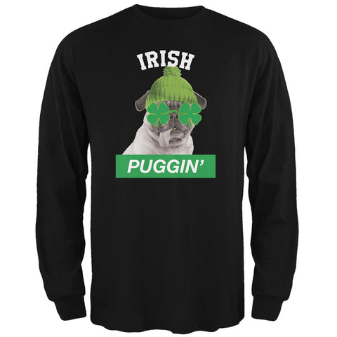 St. Patrick's Day - Irish Puggin' Black Adult Long Sleeve T-Shirt