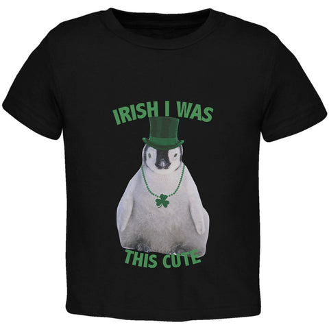St. Patrick's Day - Irish I Was This Cute Penguin Black Toddler T-Shirt