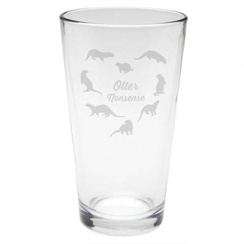 Otter Nonsense Etched Pint Glass