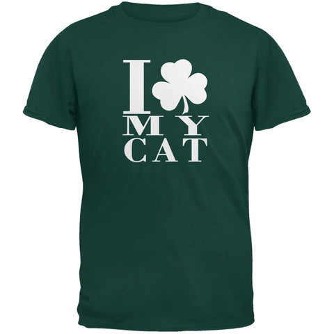 St Patricks Day Shamrock Love My Cat Forest Green Adult T-Shirt
