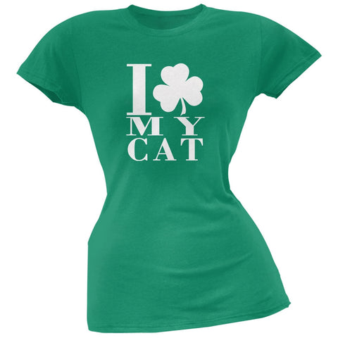 St Patricks Day Shamrock Love My Cat Kelly Green Juniors Soft T-Shirt