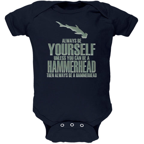 Always Be Yourself Hammerhead Shark Navy Soft Baby One Piece