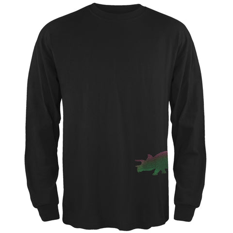 Triceratops Dinosaur Distressed Black Adult Long Sleeve T-Shirt
