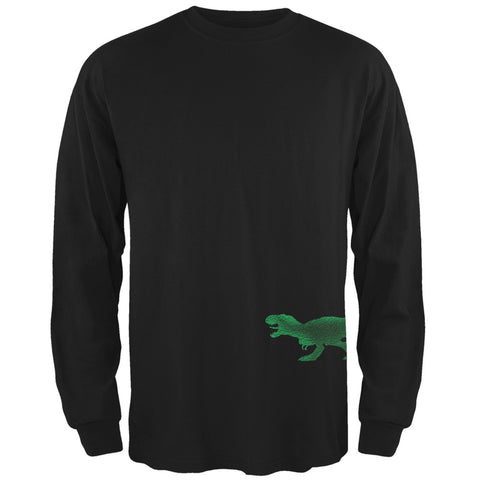 Jurassic - Tyrannosaurus Rex Dinosaur Distressed Black Adult Long Sleeve T-Shirt