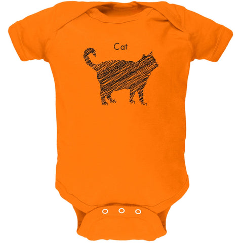 Cat Scribble Drawing Orange Soft Baby One Piece
