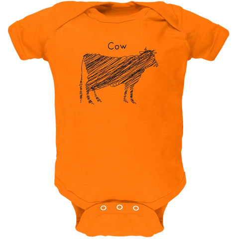 Cow Scribble Drawing Orange Soft Baby One Piece