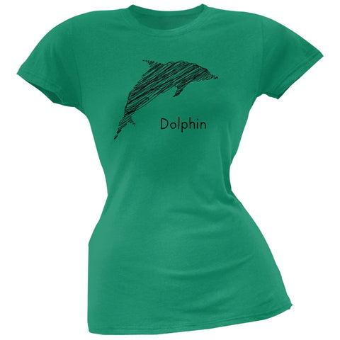 Dolphin Scribble Drawing Kelly Green Juniors Soft T-Shirt