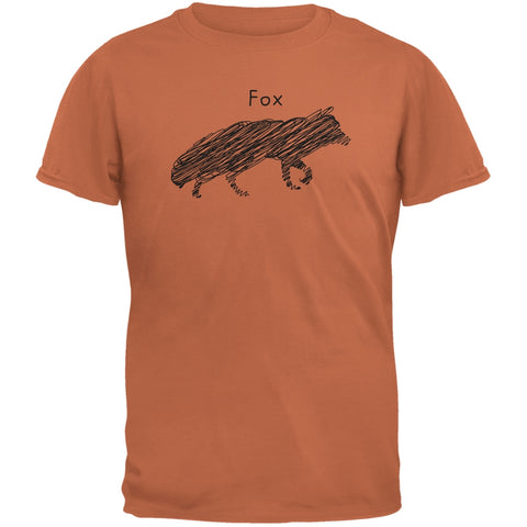 Fox Scribble Drawing Texas Orange Adult T-Shirt