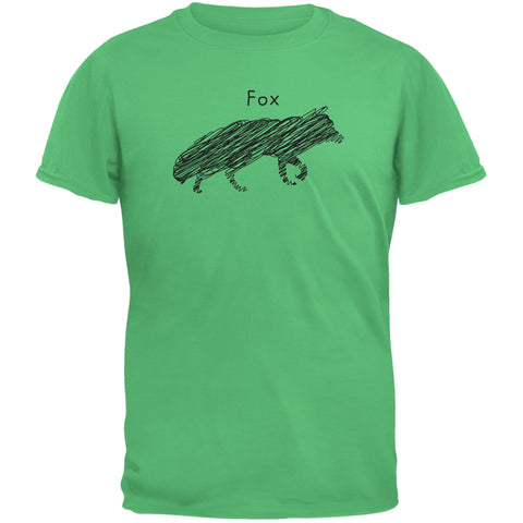 Fox Scribble Drawing Irish Green Youth T-Shirt