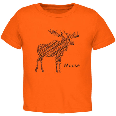 Moose Scribble Drawing Orange Toddler T-Shirt
